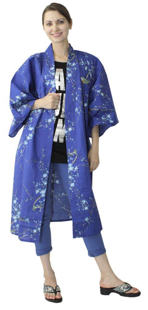 Japanese Kimono Ethnic Jacket Ume Uguisu Blue #680 Cardigan Long ...