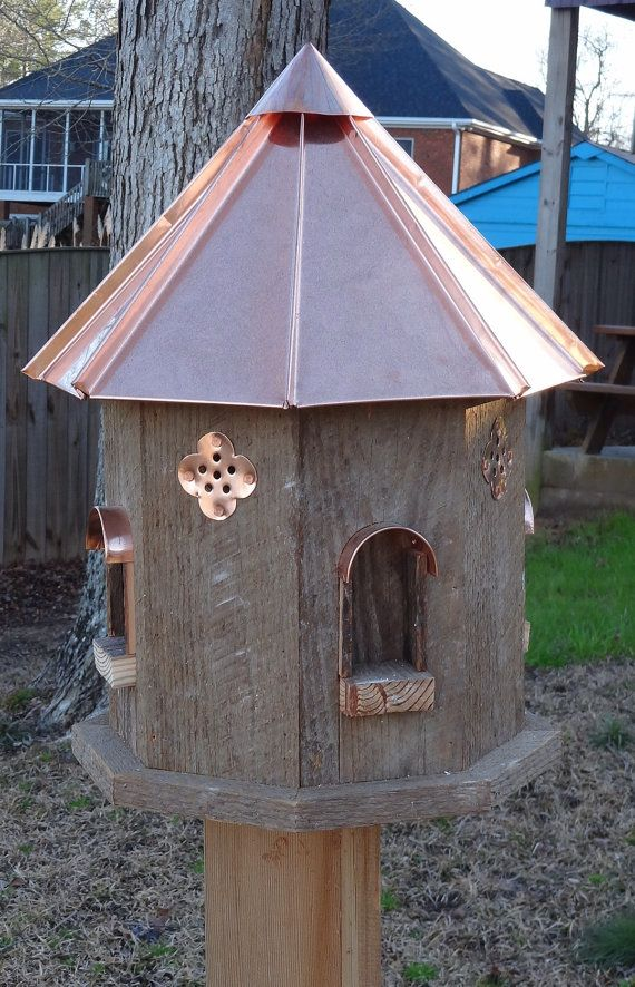 Large Octagon Bird Home With Copper Roof Birdhouses