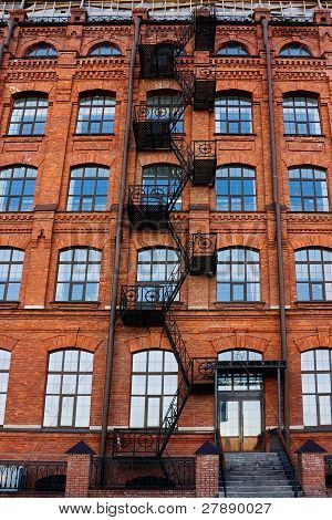 Old Brick Building With Fire Escape