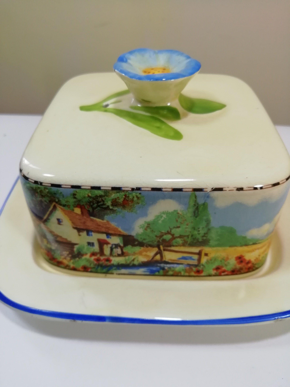 Vintage falcon ware butter dish,rural scene the Harvester4849, pretty blue flower handle circa 1950s/ the lemon dog #dishware