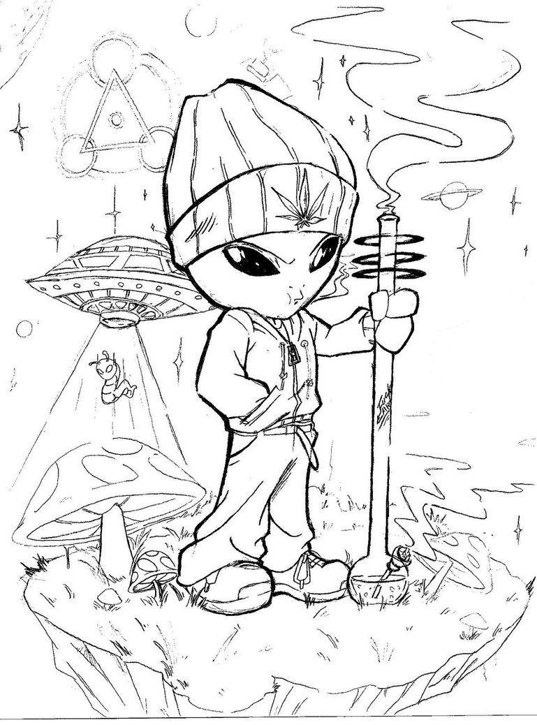 Stoner Alien By Aidman101 Alien Drawings Trippy