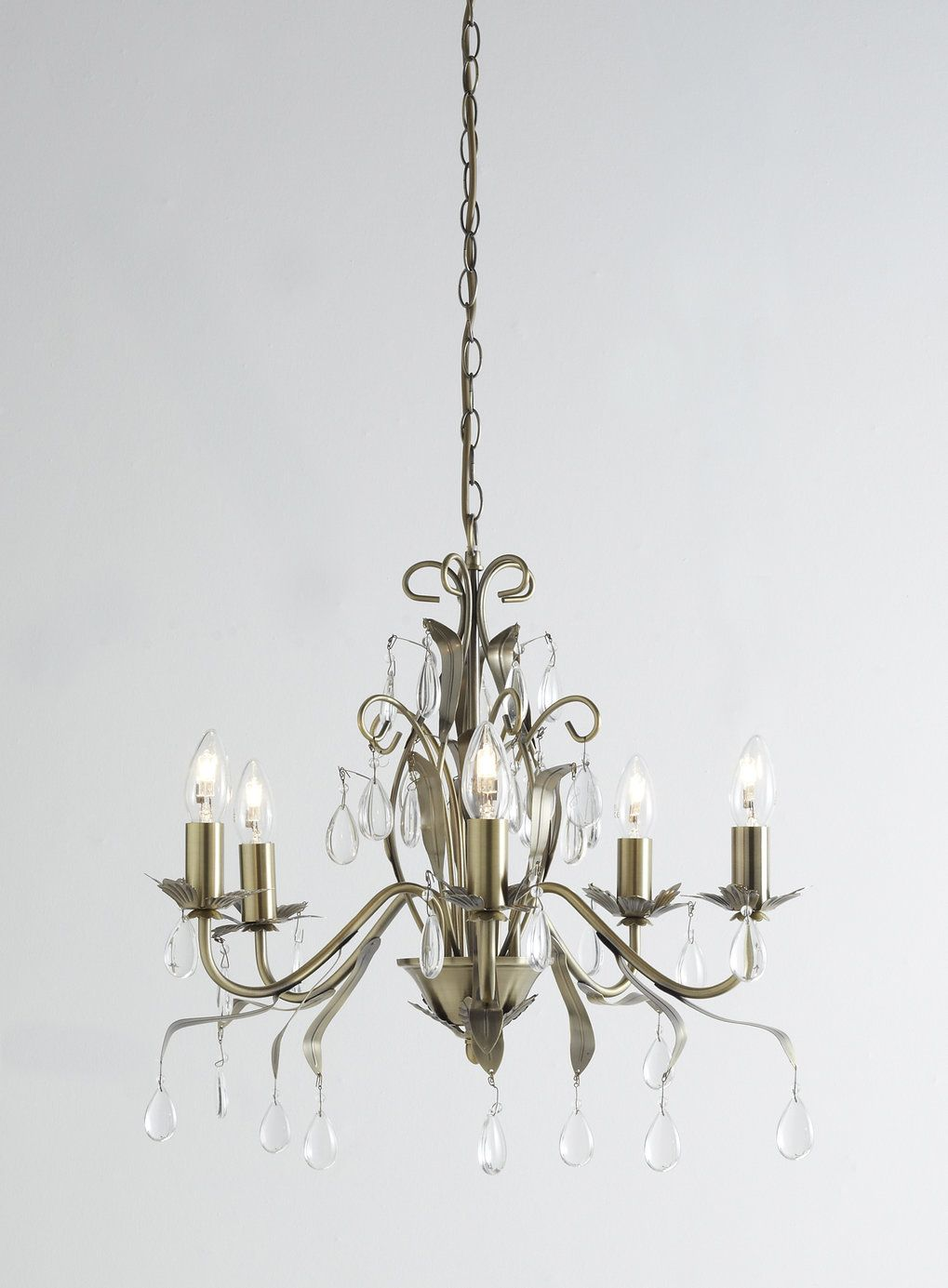 Leaf And Pear Drop 5 Light Chandelier - Ceiling Lights - Home ...