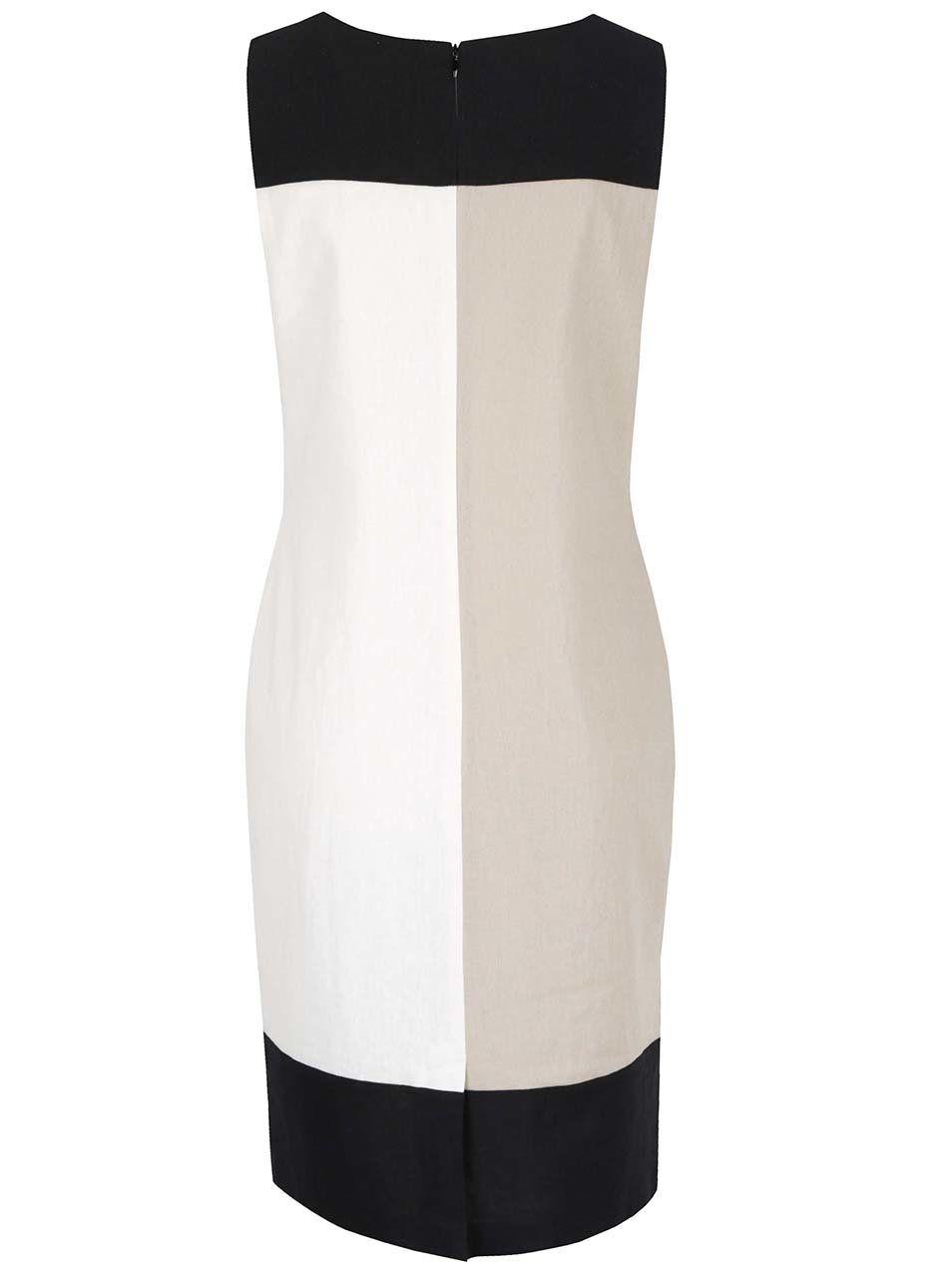 61ba3503bd5c Černo-krémové lněné šaty M Co