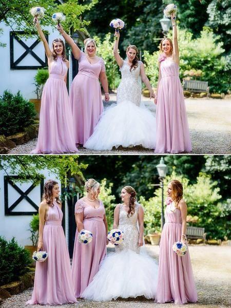 Photo of Rosa Spitze Brautjungfernkleider, Plus Size One-Shoulder Bridesma …