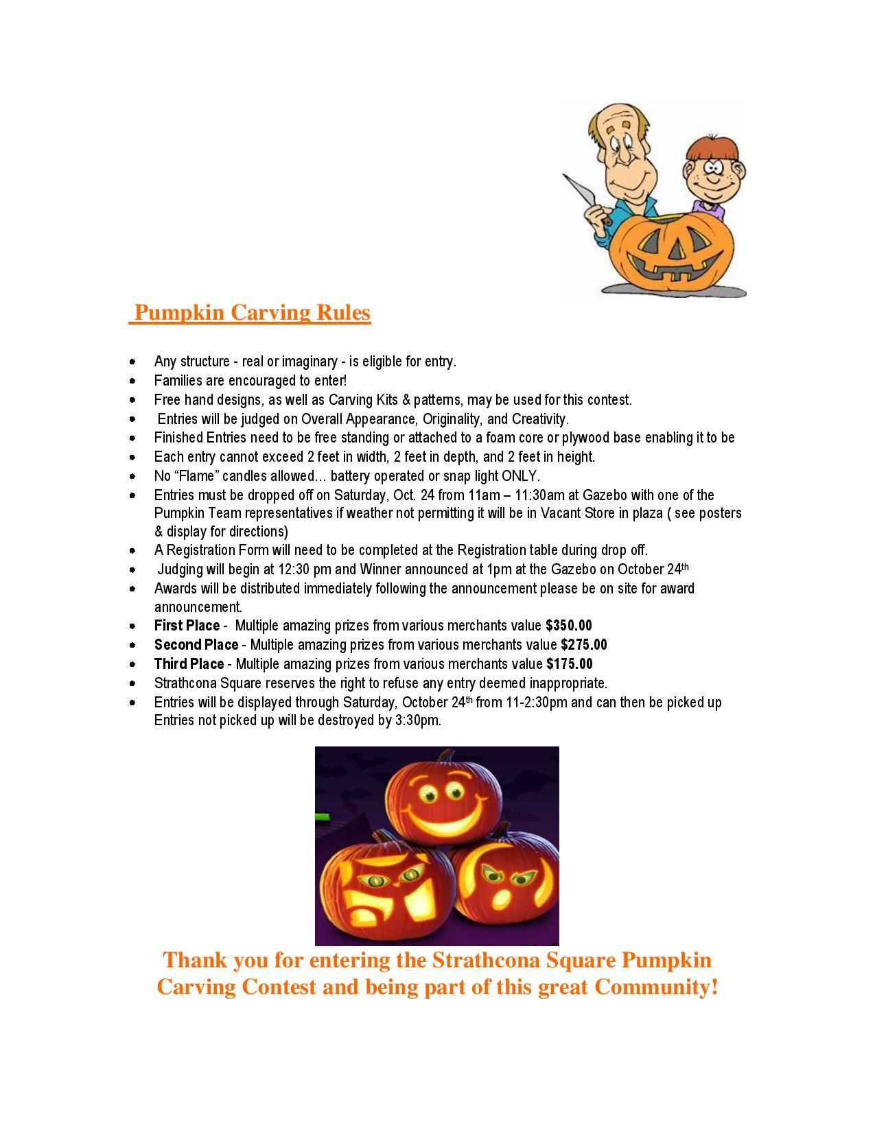 Pumpkin carving rules for The Pumpkin Festival on October