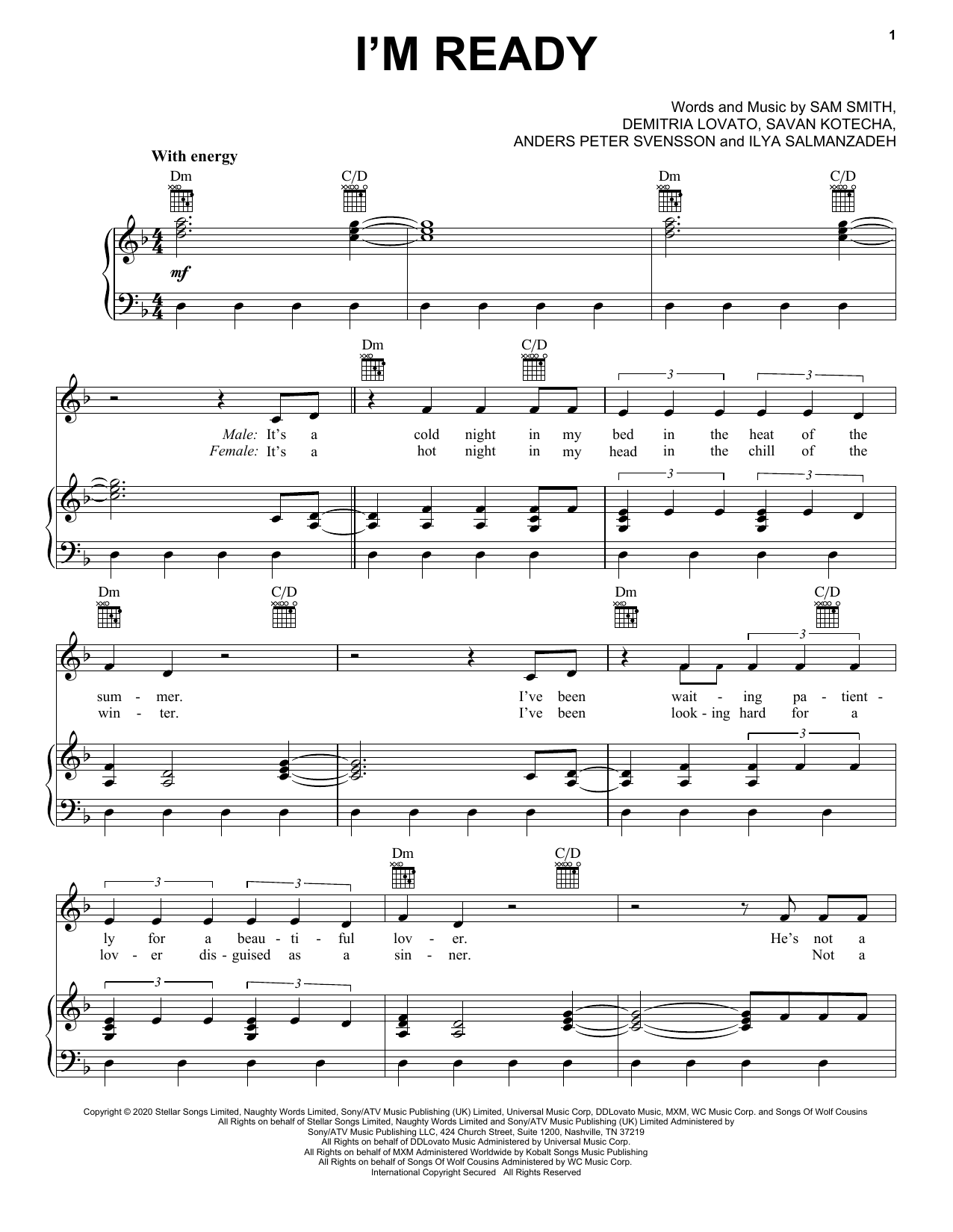 Sam Smith Demi Lovato I M Ready Sheet Music Notes Chords Score Download Printable Pdf In 2020 Sheet Music Notes Music Notes Pop Sheet Music