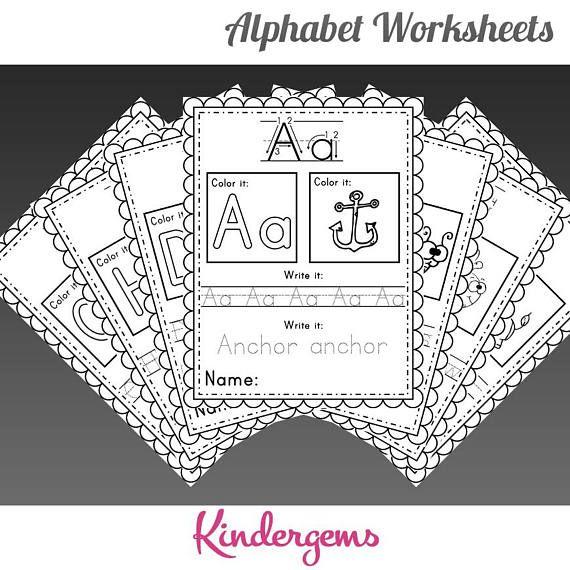 Alphabet Worksheets Instant Download Pdf Preschool Alphabet Worksheets Homeschool Kindergarten Worksheets