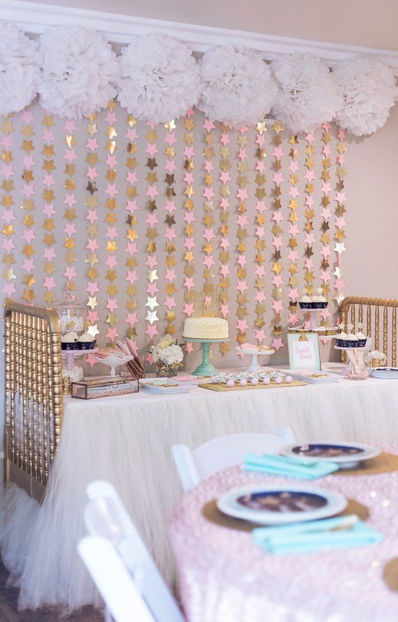 Photo of Pink and gold star BACKDROP- nursery star wall hanging / star mobile / twinkle twinkle little star party / star party backdrop / star mobile