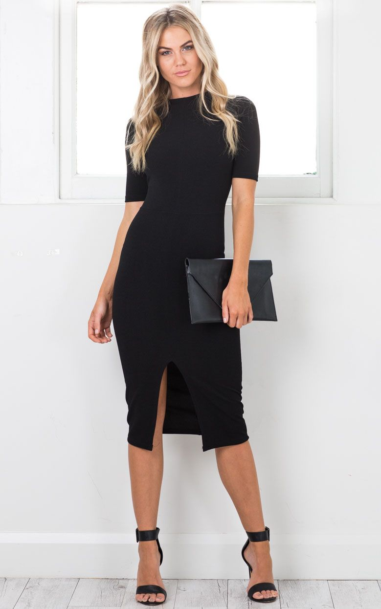 Tall Tales Dress In Black Showpo Work Outfits Women Casual Work Outfits Fashion [ 1246 x 779 Pixel ]