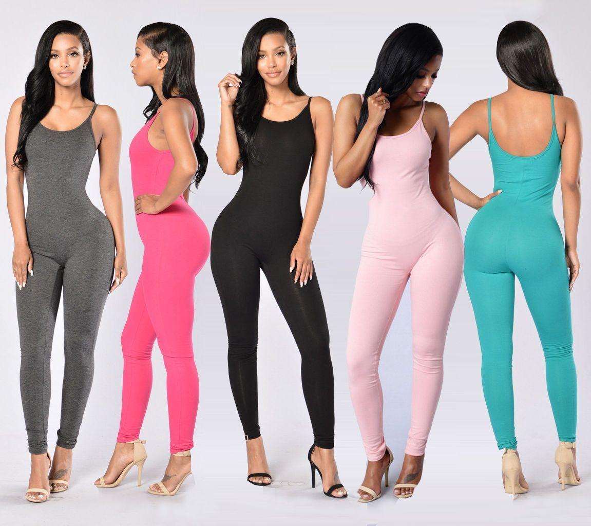 68ec2e9d331 Women Casual Sleeveless Bodycon Romper Jumpsuit Club Bodysuit Long Pants