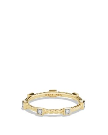 Cable Collectibles Ring With Diamonds In 18k Gold David Yurman Gold Rings Diamond Stacking Rings 18k Gold Jewelry