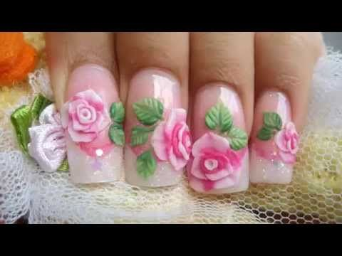 Nails Designs 3d Pink Acrylic Roses Nail Art Step By Step Http