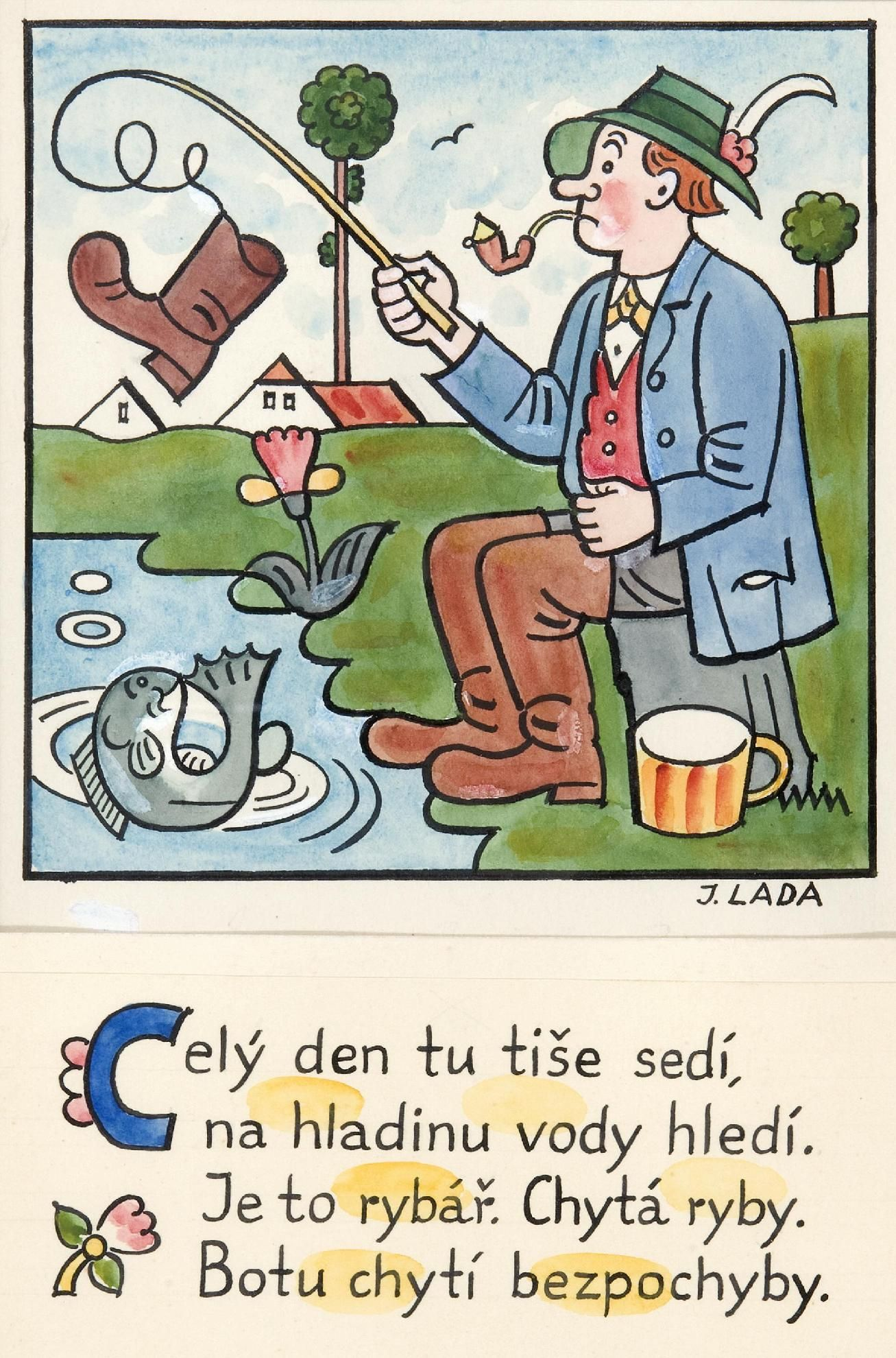 Kalamajka - Celý den tu tiše sedí ( Rybář), 1913