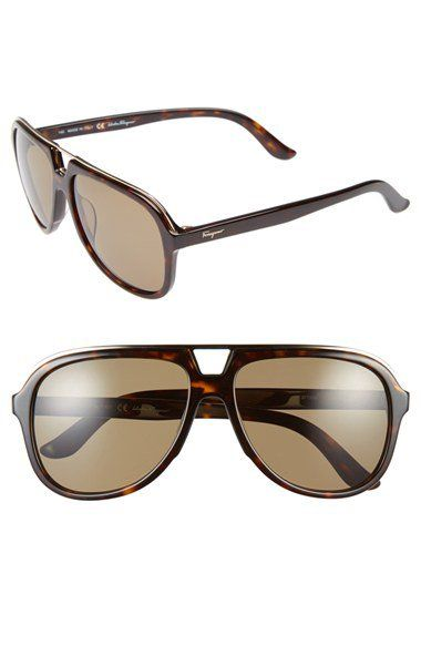 57mm Aviator Sunglasses by Salvatore Ferragamo | Mens