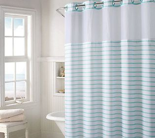 Hookless Charleston Stripe Shower Curtain W Built In Liner With