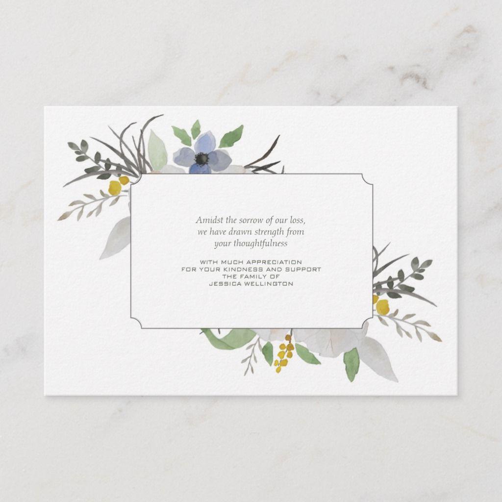 sympathy floral thank you notecard  zazzle  sympathy