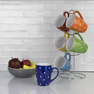 Winston Porter Shawny 6 Piece Polka Dots Mug Set With Stand Mugs