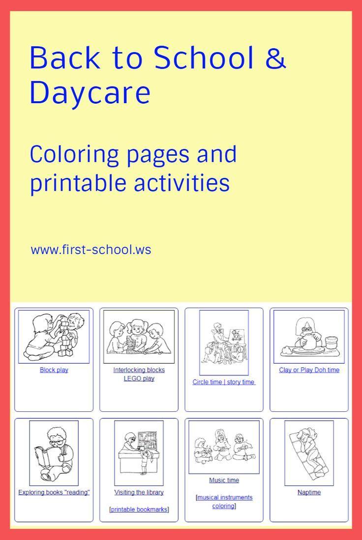 malvorlagen back to school und daycare thema für