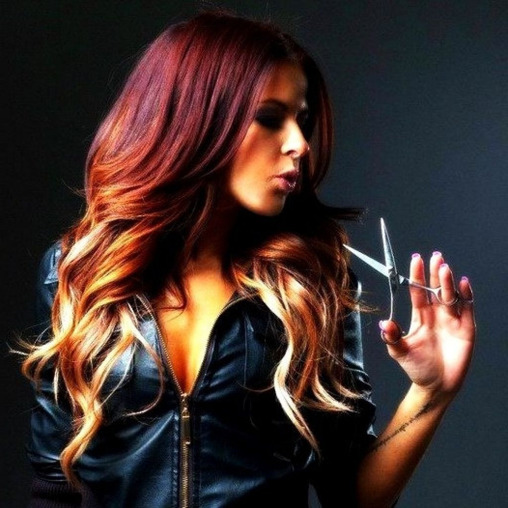 red blonde ombre hair color - women medium haircuts : women medium