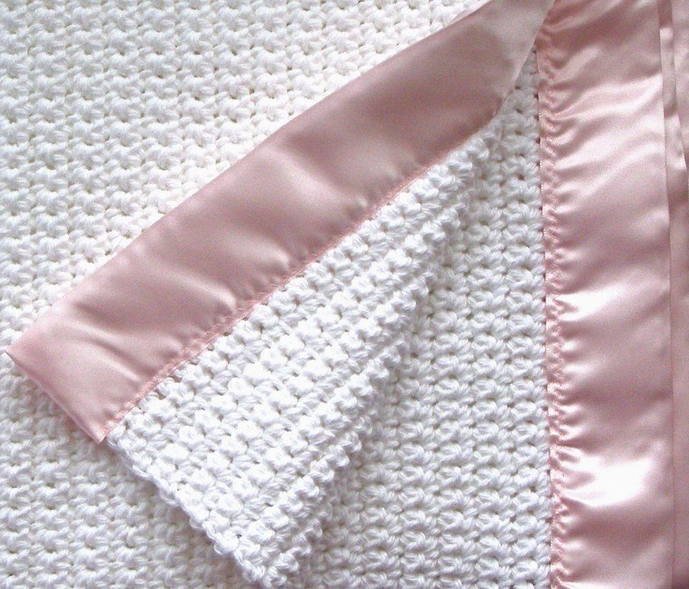 Crocheted Baby Girl Blanket - White with Pink Satin Binding | Bebe ...