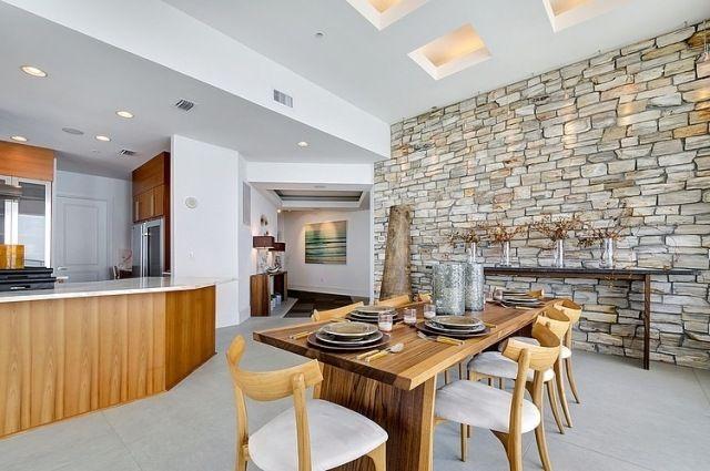 Wandgestaltung Stein Optik Tapete Küche Essbereich | Deko ... Essbereich Gestalten Steinwand