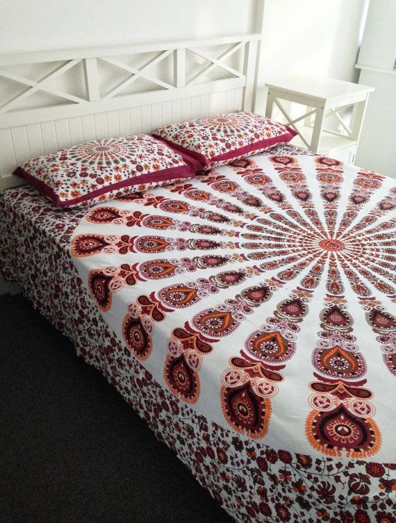 Mandala Tapestry Bedsheet and Pillowcase Set by TIPSYMOON on Etsy