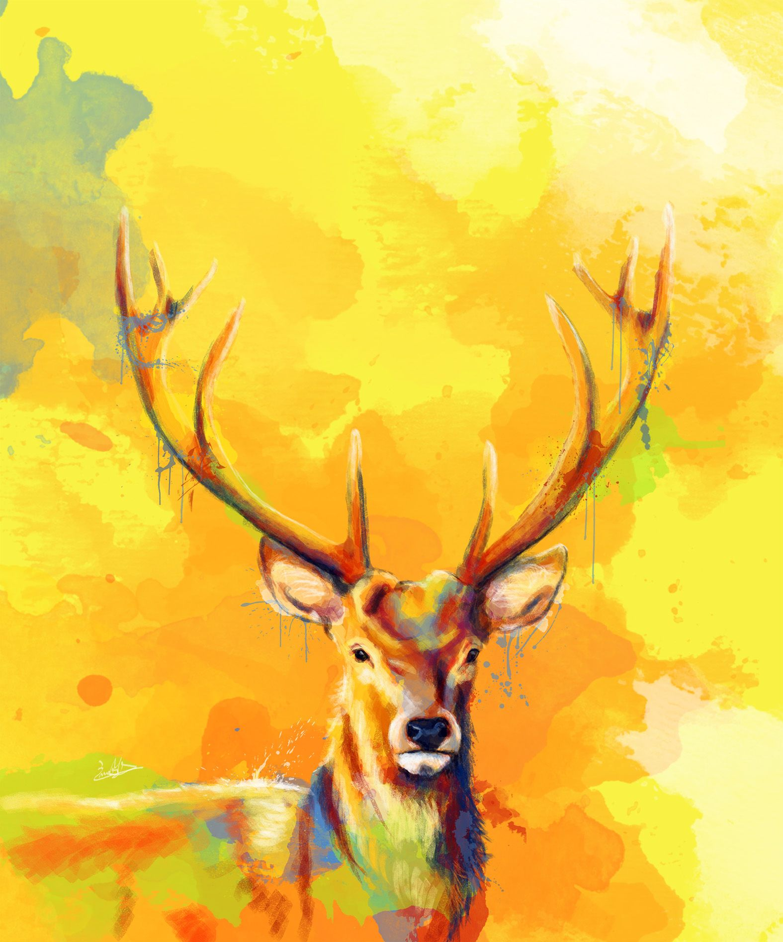Forest King Digital Painting. Colorful Painting Of Majestic Deer