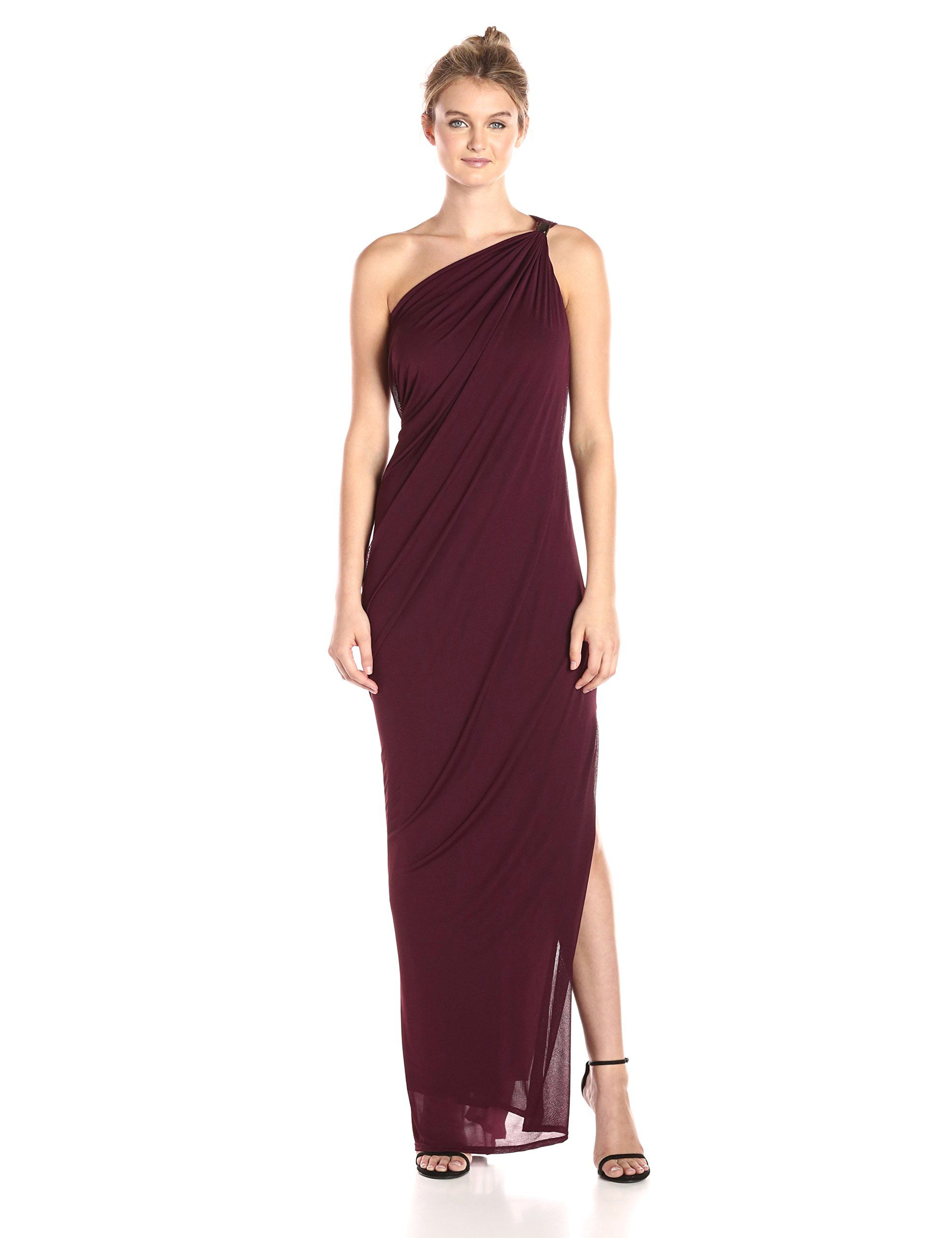 Halston heritage womenus one shoulder draped jersey gown with slit