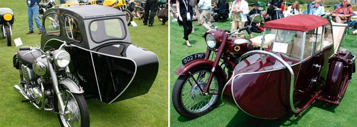 Norton Motorcycle With Watsonian Sidecar From 1957 Left And The 1956 Ariel Square 4 With A Garrard Sidecar Righ Sidecar Norton Motorcycle Motorcycle Sidecar