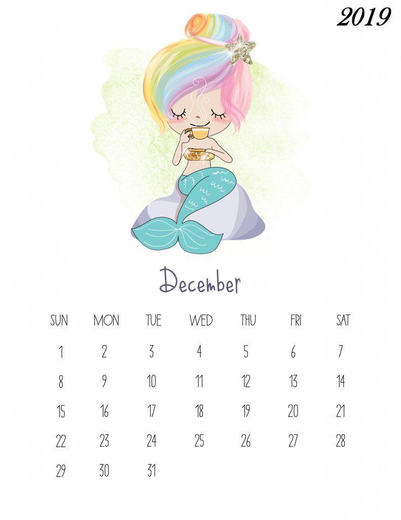 Free Printable December 2019 Kids Calendar Pencetakan Desain