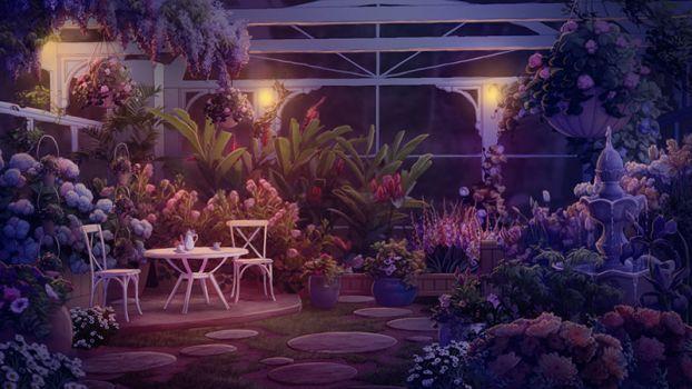 Medusa S Garden At Night By Tamiart Anime Garden Background Background Anime Gacha Life Backgrounds Garden Anime castle garden background night