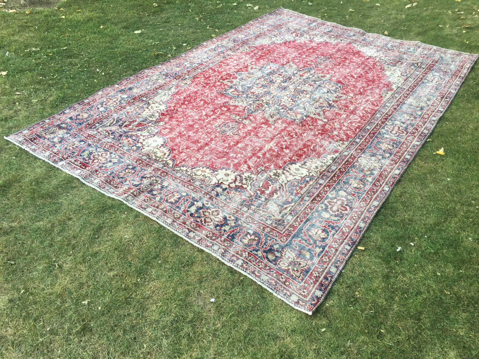 Farmhouse large vintage anatolian hand knotted rugturkish