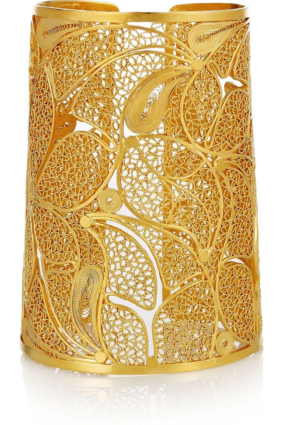 Mallarino Cielo 24karat goldvermeil filigree cuff shine bright