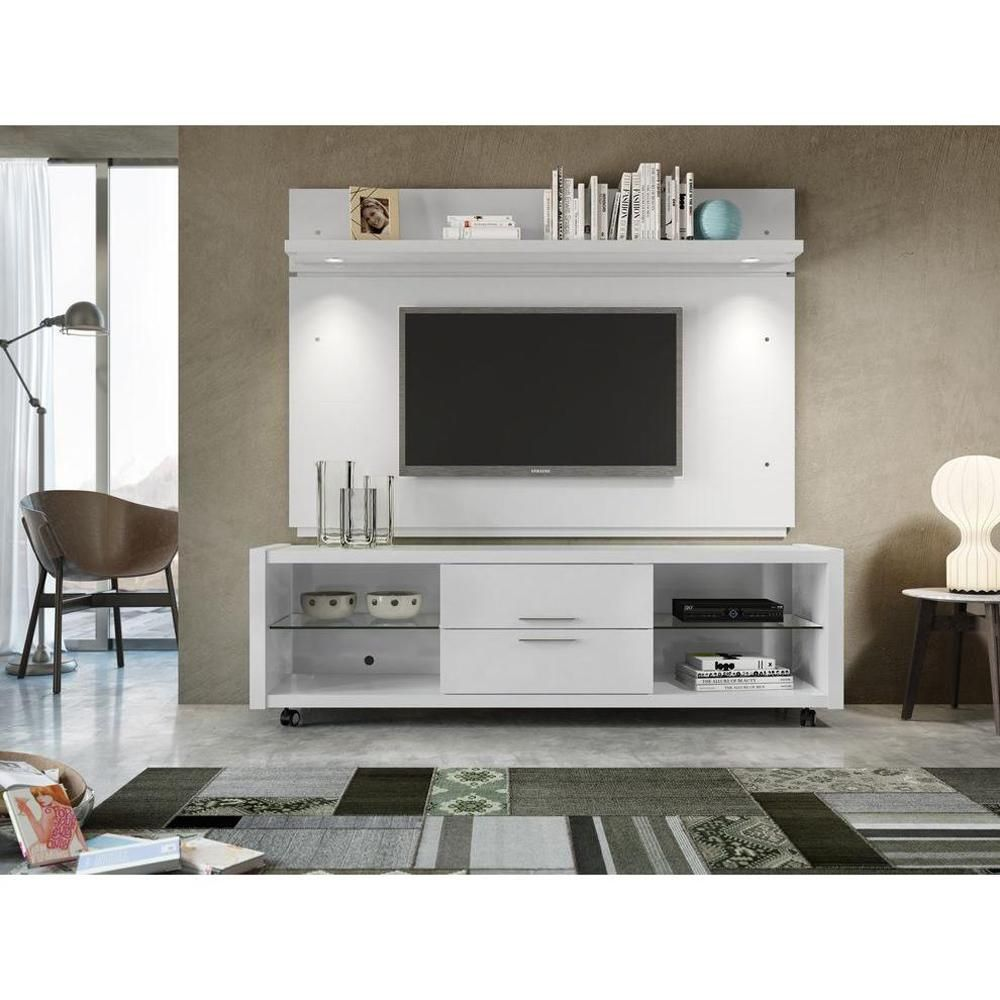 Manhattan Comfort Park Tv Panel With Led Lights In White Gloss High 81484
