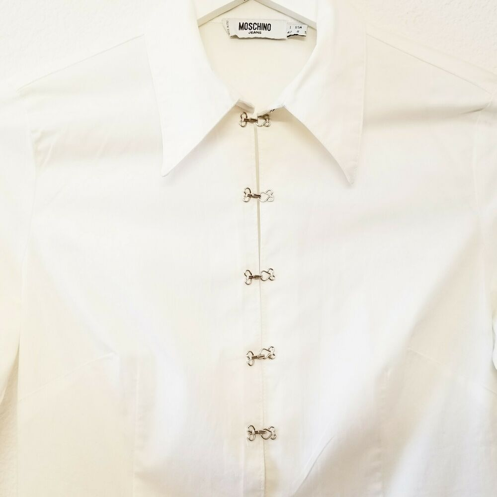 1af0f62ff Moschino White Pointed Collar Button Down Long Sleeve Fitted Shirt Size 8  #Moschino #Blouse