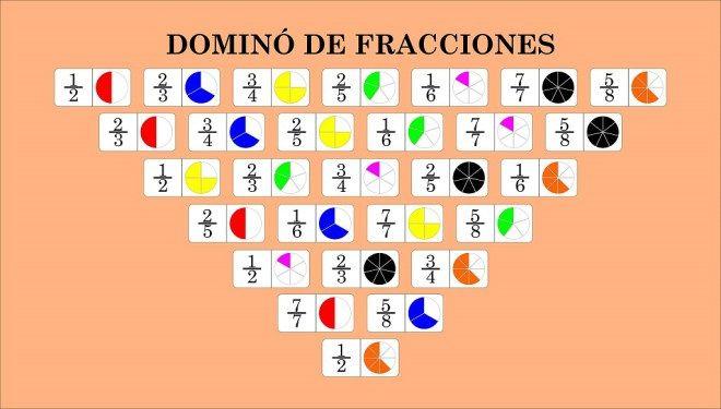 Juego De Fracciones Dominó De Fracciones Domino De