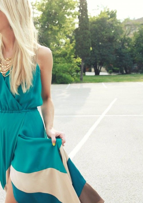 gold + teal dress + neon nails