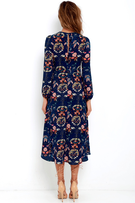 165f53872 Boho Midi Dress - Navy Blue Dress - Floral Print Dress - Long Sleeve Dress  - $67.00