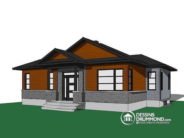 W3152-BH - Plan de maison à entrée split, style Craftsman rustique - plans de maison moderne