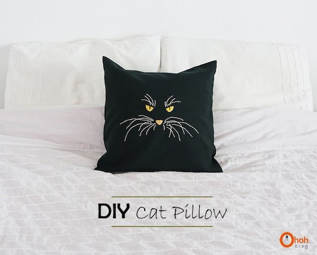 How-To: Embroidered Cat Pillow | Bordado, Me gustas y Coser