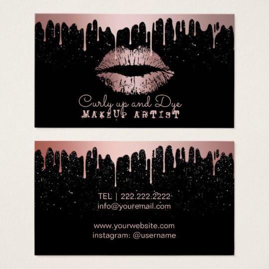 Makeup Artist Rose Gold Lips Trendy Dripping Business Card Zazzle Com Makeup Business Cards Beauty Business Cards Glitter Business Cards