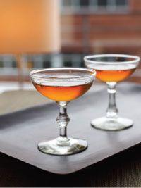 The Newark: 2oz Laird's Applejack, 1oz sweet vermouth, 1/4 Fernet Branca, 1/4 maraschino (PDT, NYC)