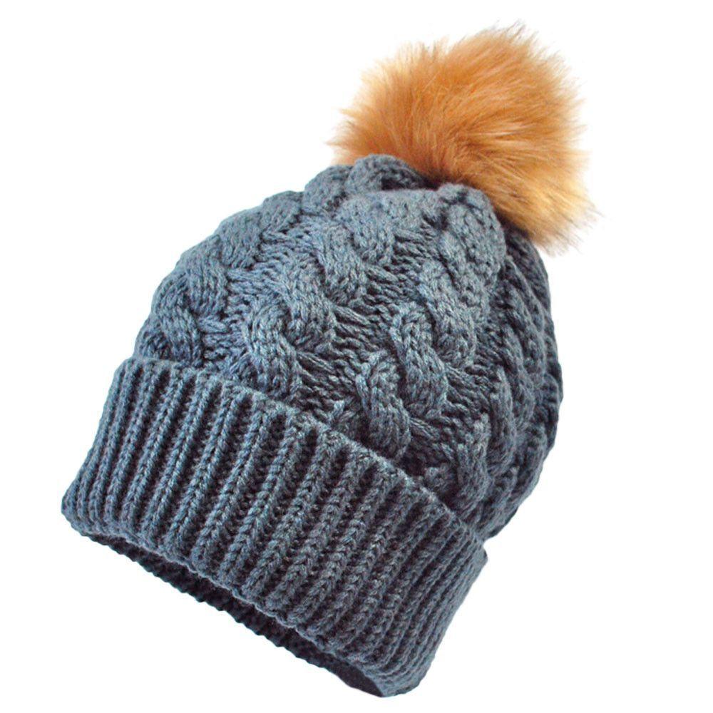 Kids Warm Cap Pom Pom Baby Boy Girl Winter Knitted Cute Wool Hemming Hat Beanies