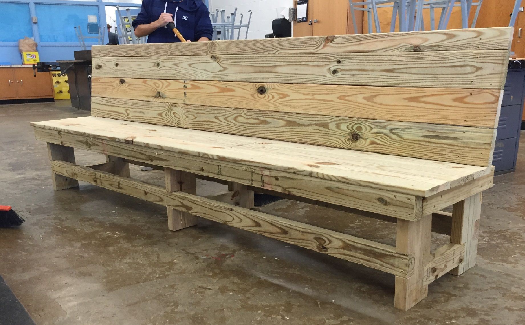 Astonishing Bench For Outdoor Use Made With Treated Wood Its 8 Feet Customarchery Wood Chair Design Ideas Customarcherynet