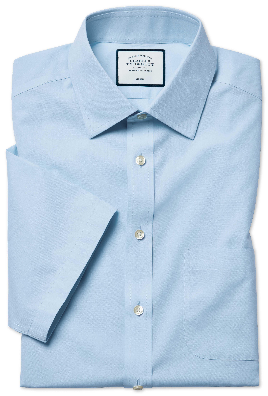 Slim Fit Non-Iron Sky Blue Tyrwhitt Cool Short Sleeve Cotton Dress Shirt Size 18/Short by Charles Tyrwhitt #shortsleevedressshirts