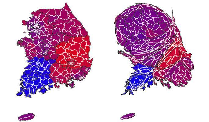 2012년 대선: 득표정보를 인구비례로 표시하면 실제 득표와 유사한 정보를 보여준다. 000Map2.jpg