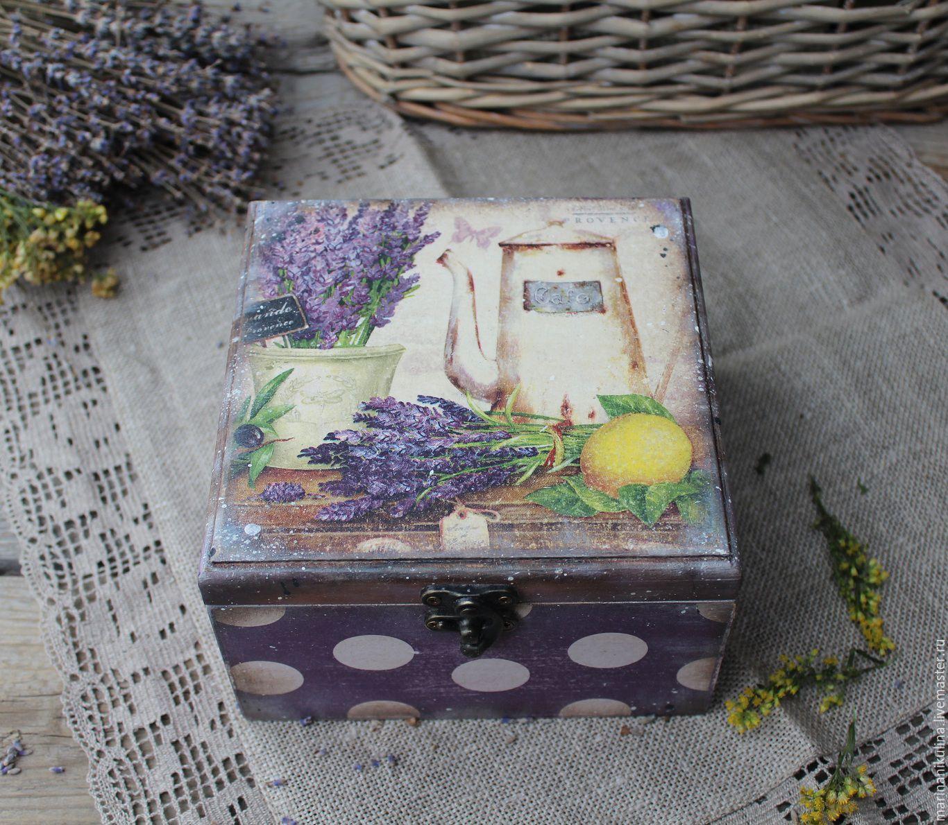 """Купить """"Прованс"""" короб чайный - сиреневый, лвандовый, лаванда, лавандовый цвет, прованс, прованские травы"""