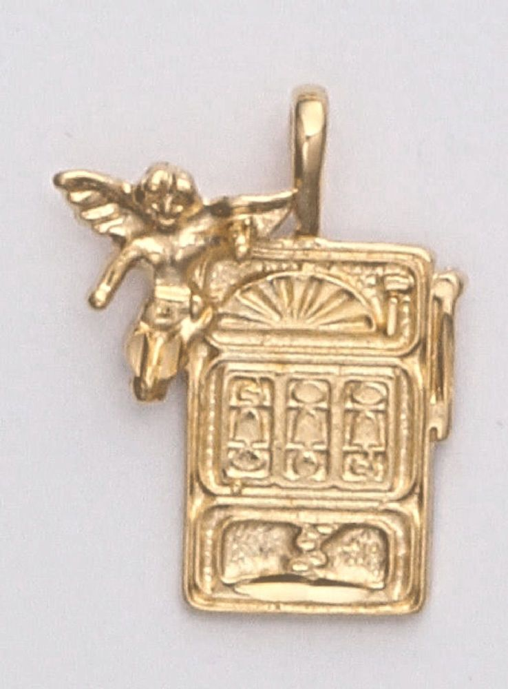 Gold Slot Machine Pendant with Angel 24k yellow Gold plated