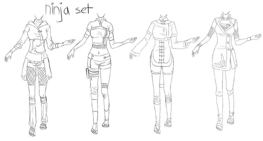 Outfit Set 1 Ninja By Kohane Chan On Deviantart In 2020 Ninja Girl Ninja Outfit Anime Outfits