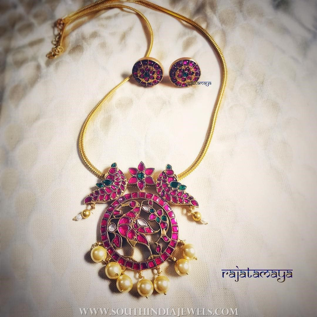 Gold plated ruby necklace set from rajatamaya gold jewel and